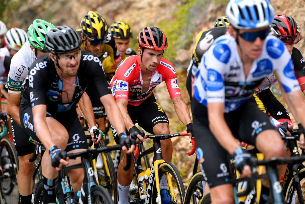 ALTU DEL GAMONITEIRU SPAIN SEPTEMBER 02 Primoz Roglic of Slovenia and Team Jumbo Visma red leader jersey during the 76th Tour of Spain 2021 Stage 18 a 1626km stage from Salas to Altu dEl Gamoniteiru 1770m lavuelta LaVuelta21 on September 02 2021 in Altu dEl Gamoniteiru Spain Photo by Tim de WaeleGetty Images