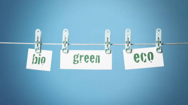 The words bio, green and eco hanging on a washing line