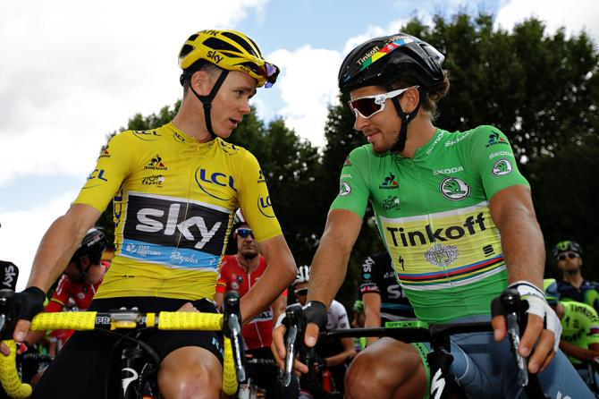 Chris Froome and Peter Sagan plotting at the start of Stage 11 of the Tour de France