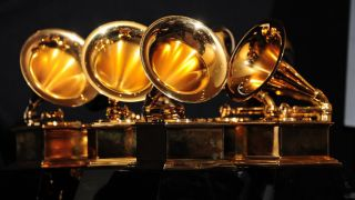 A picture of Grammy trophies