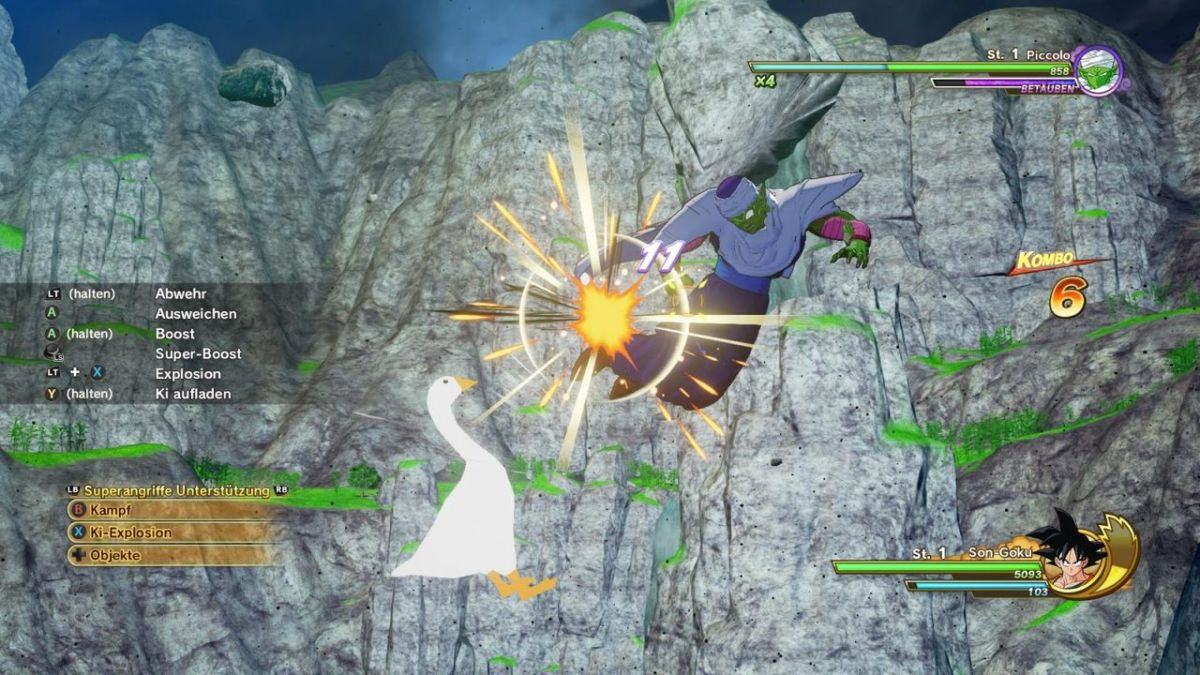 Untitled Goose Game fowl rides Flying Nimbus, pulverizes enemies in Dragon Ball Z: Kakarot mod