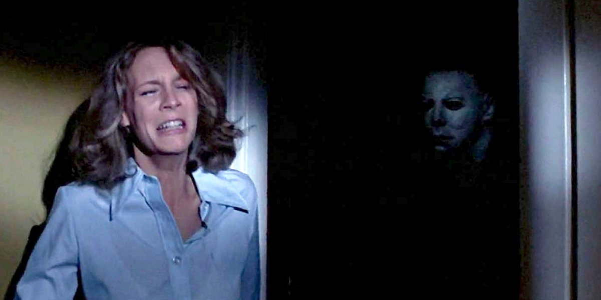 Jamie Lee Curtis and Nick Castle in Halloween