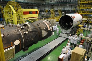 The Progress 44 spacecraft being assembled.