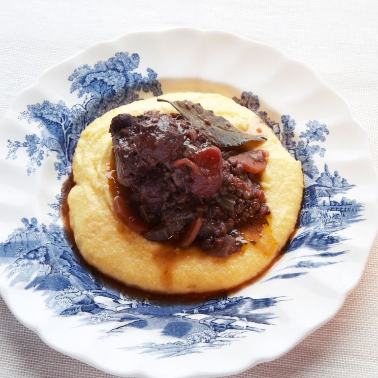Oxtail stew and beluga lentils photo