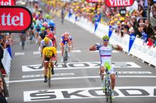 Peter Sagan (Liquigas-Cannondale) triumphs in the first Tour de France road stage of his career.
