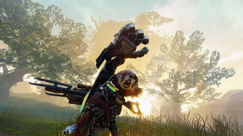 The furry protagonist of Biomutant stretches out a giant, mechanical hand.