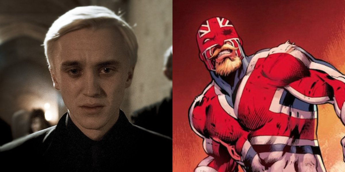Tom Felton and Captain Britain