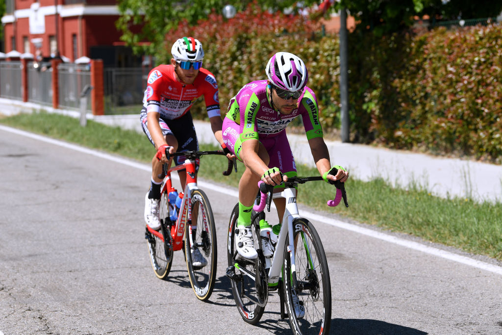 CATTOLICA ITALY MAY 12 Umberto Marengo of Italy and Bardiani CSF Faizan Pro Team Filippo Tagliani of Italy and Team Androni Giocattoli Sidermec on breakaway during the 104th Giro dItalia 2021 Stage 5 a 177km stage from Modena to Cattolica girodiitalia Giro on May 12 2021 in Cattolica Italy Photo by Tim de WaeleGetty Images