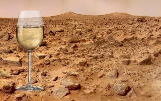 Mars landscape with inset of wineglass.