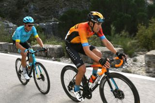 Bahrain McLaren's Mikel Landa leads eventual stage winner Jakob Fuglsang (Astana) on stage 1 of the 2020 Vuelta a Andalucia