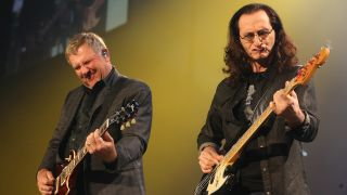 (L-R) Alex Lifeson and Geddy Lee of Rush