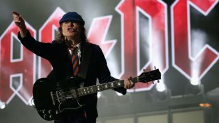 Angus Young of AC/DC performs onstage during day 1 of the 2015 Coachella Valley Music And Arts Festival (Weekend 2) at The Empire Polo Club on April 17, 2015 in Indio, California