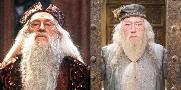 Richard Harris and Michael Gambon as Dumbledore in Harry Potter