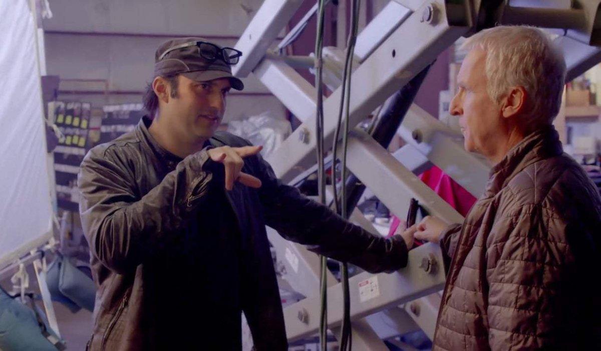 Alita: Battle Angel Robert Rodriguez and James Cameron on set
