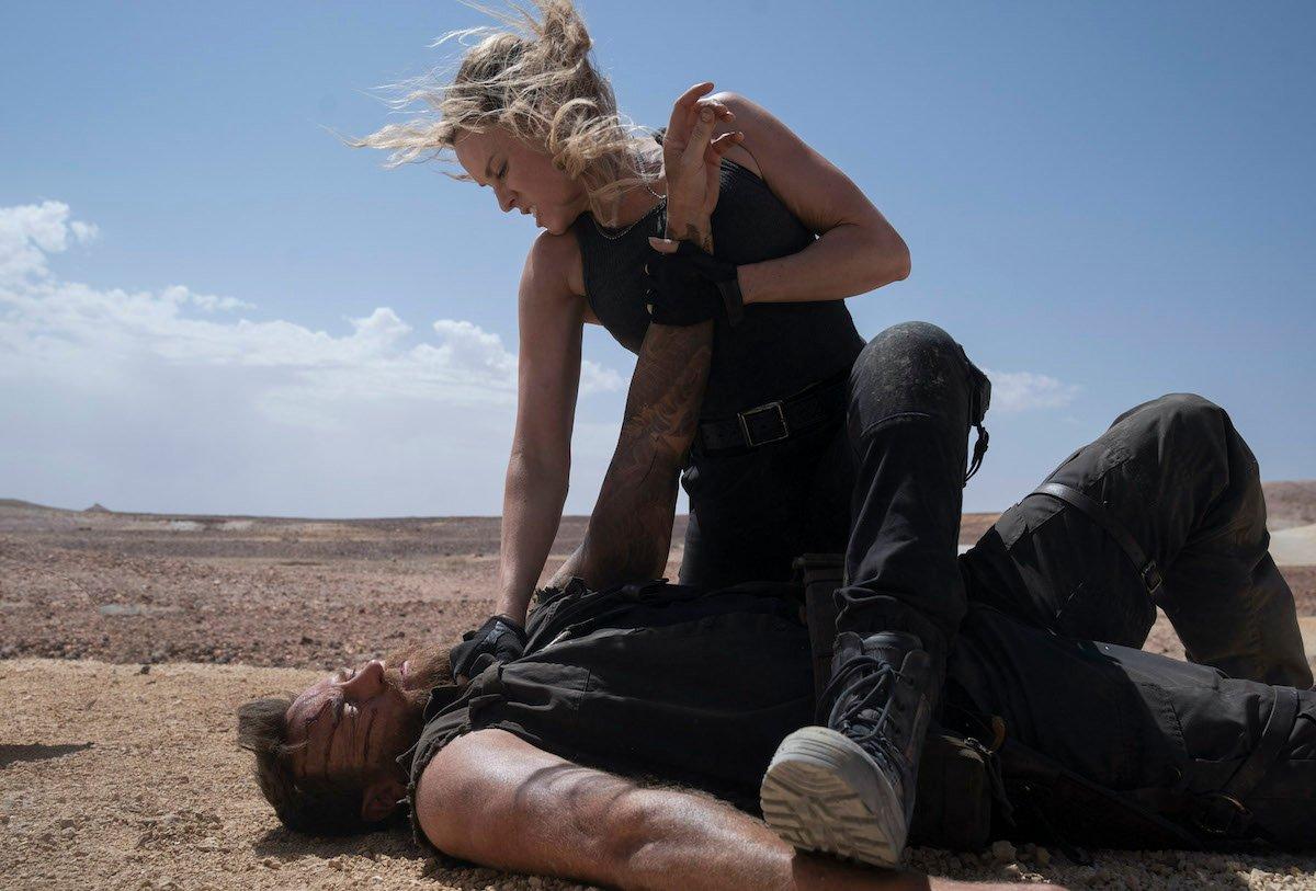 Josh Lawson's Kano and Jessica McNamee's Sonya Blade in Mortal Kombat