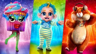 The Masked Singer season 6 contestants wearing the costumes of Cupcake, Baby and Hamster