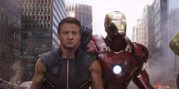 Hawkeye and Iron Man in The Avengers