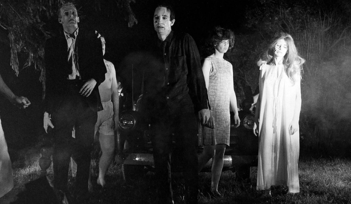 Night of the Living Dead zombies shambling towards the camera