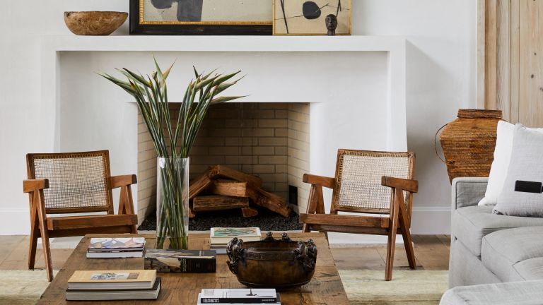 Modern boho living room with fireplace