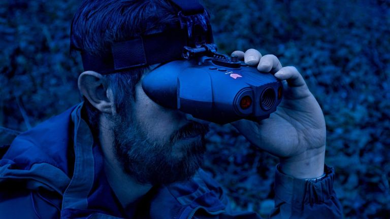 man using Nightfox Swift Night vision goggles