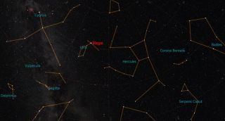 Vega's Location in Lyra Constellation