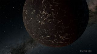 An illustration of exoplanet LHS 3844b, which may have a rocky surface similar to that of Earth's moon.