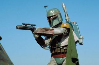 "The bounty hunter Boba Fett from ""Star Wars Episode VI: The Return of the Jedi."""