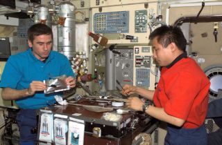 Astronauts Dining in the International Space Station