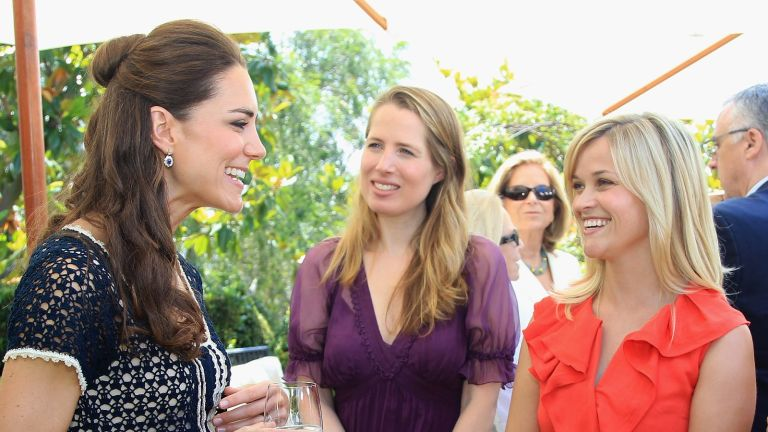 Kate Middleton told jokes, Catherine, Duchess of Cambridge meets actress Reese Witherspoon as she attends a reception to mark the Launch of Tusk Trust's US Patron's Circle on July 10, 2011 in Santa Barbara, California.
