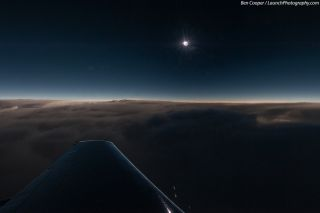 Veteran space photographer Ben Cooper captured this spectacular aerial view of the 2013 total solar eclipse from an eclipse-chasing airplane during the rare hybrid solar eclipse of Nov. 3, 2013.