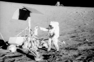 "Apollo 12 moonwalkers Charles ""Pete"" Conrad (pictured) and Alan Bean retrieved parts from the Surveyor 3 spacecraft, which was in walking distance of their lunar module, Intrepid."