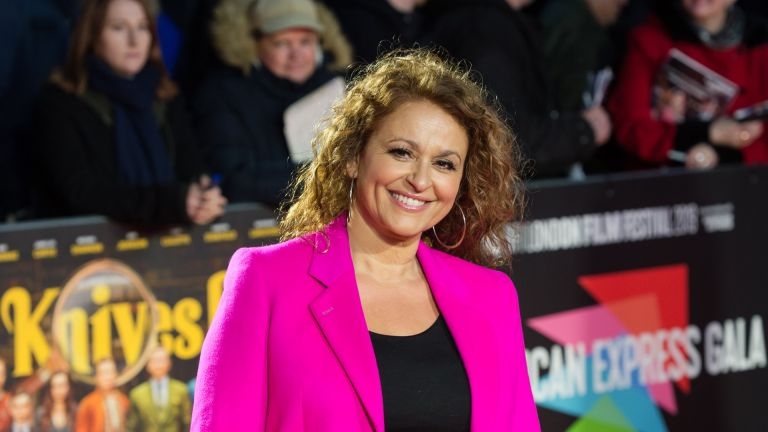 LONDON, UNITED KINGDOM - OCTOBER 08: Nadia Sawalha attends the European film premiere of 'Knives Out' at Odeon Luxe, Leicester Square during the 63rd BFI London Film Festival American Express Gala on 08 October, 2019 in London, England.