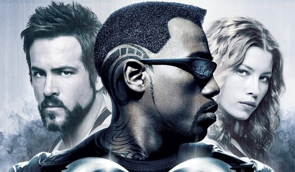 Blade Trinity Ryan Reynolds Wesley Snipes Jessica Biel the team faces the audience
