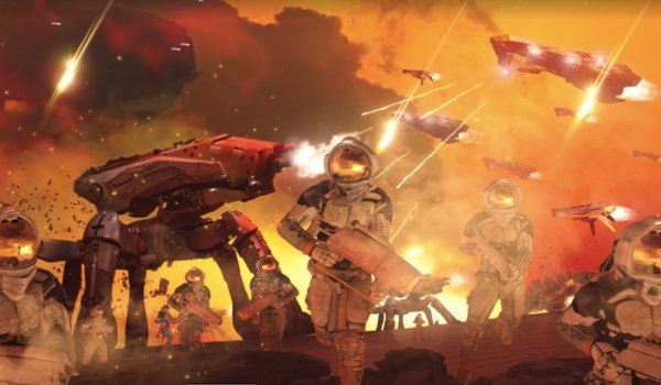 Alita: Battle Angel URM troopers in the middle of a firefight on Mars