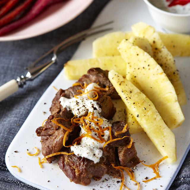 Spicy Moroccan lamb with pineapple and chilli yogurt