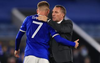 Leicester City winger Harvey Barnes and Leicester City manager Brendan Rodgers embracing   Legia Warsaw v Leicester live stream
