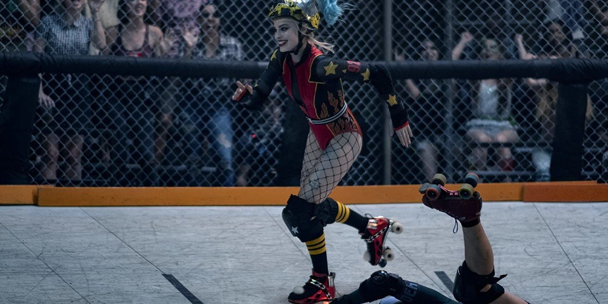 Margot Robbie roller blading in Birds of Prey