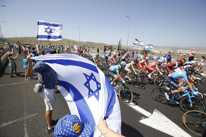 Fans flying the Israel flag during stage 2 at the Giro d'Italia