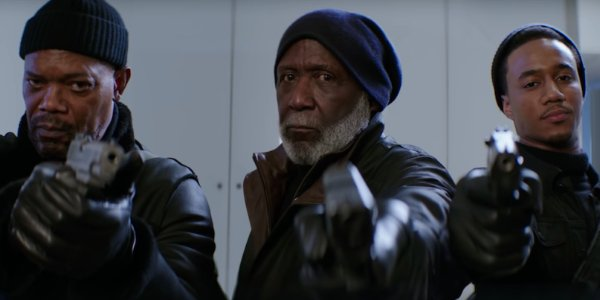 Shaft (2019) all three generations of Shaft aiming guns at the screen