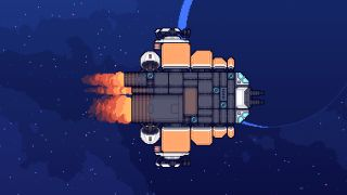 A pixel art spaceship from Sunshine Heavy Industries.