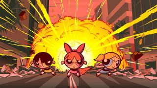 The Powerpuff Girls in front of an explosion.