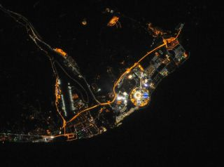 NASA released a nighttime image on Feb. 11, 2104 showing the Sochi Olympic Park seen from space. An Expedition 38 astronaut on the International Space Station took this photo on from orbit.. Image released Feb. 10, 2014.