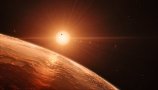 This artist's impression depicts what the view might be like from a planet in the TRAPPIST-1 system.