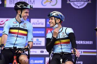 2021 UCI Road World Championships Flanders - men Elite Road Race - Antwerp - Leuven 268,3 km - 26/09/2021 - Wout Van Aert (Belgium) - Remco Evenepoel (Belgium) - photo Nico Vereecken/PN/BettiniPhoto©2021