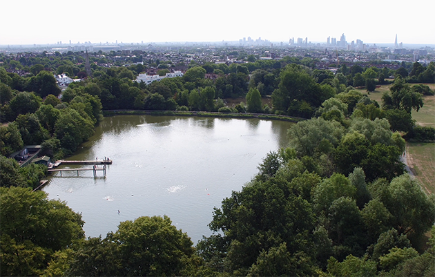 Aerial shot of outdoor swimming spot the ponds on Hampstead Heath, London