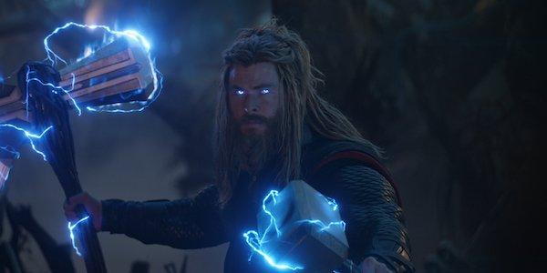 Thor holding Stormbreaker and Mjolnir in Avengers: Endgame