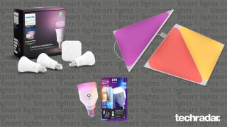 Philips Hue Color Ambiance, Lifx A19 and Nanoleaf Shapes - some of the best smart light on can buy - on a grey background