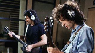 Brian May and Tony Iommi recording