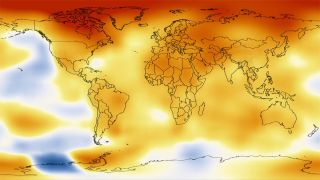 This map represents global temperature anomalies averaged from 2008 through 2012.