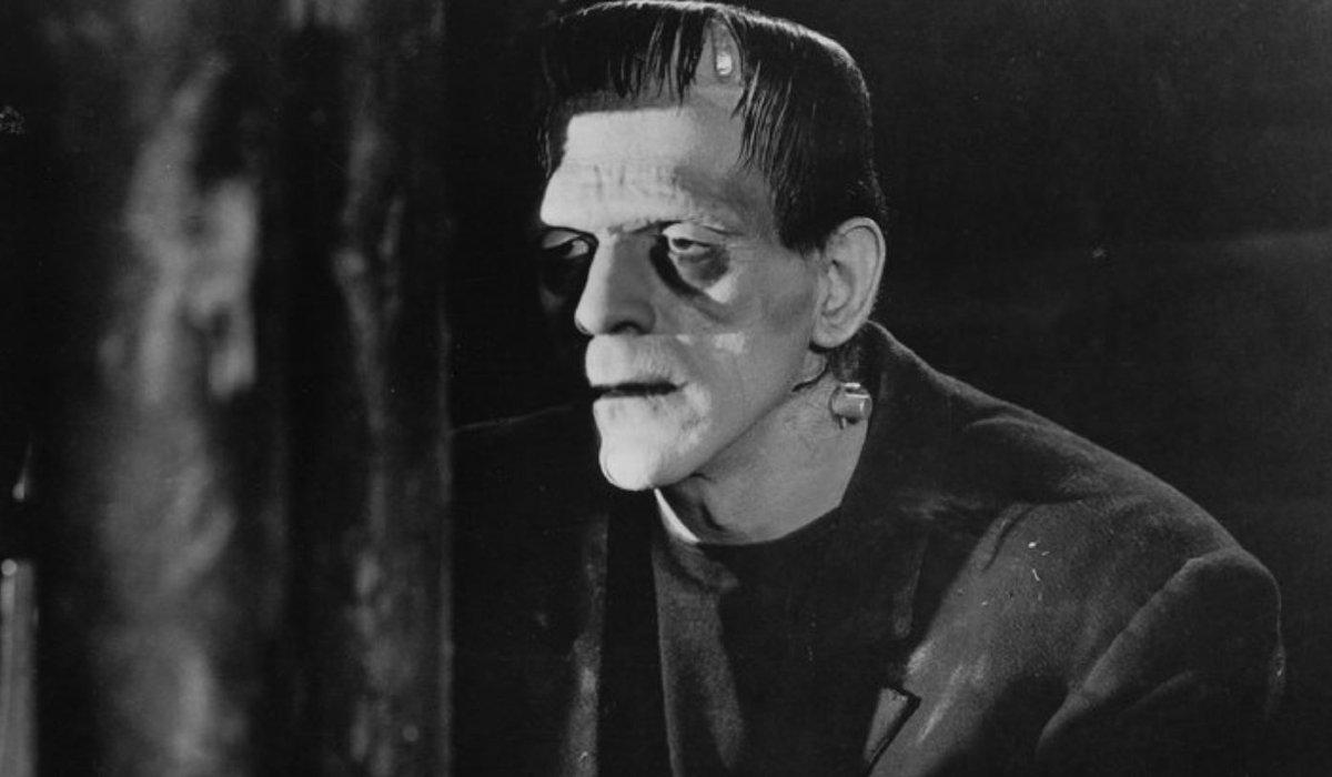 Frankenstein The Monster sulks in the shadows